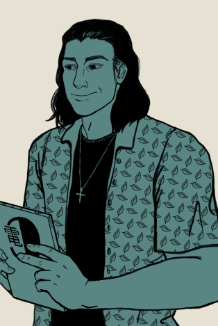 A man with shoulder length hair holds a data pad. He wears a crucifix and a leaf patterned shirt